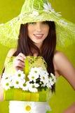 Retrato bonito da mulher da mola. Fotografia de Stock