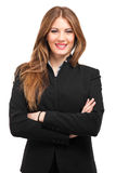 Retrato bonito da mulher de negócios isolado no branco imagens de stock royalty free
