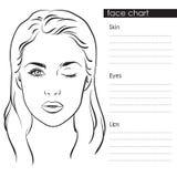 Retrato bonito da mulher Maquilhador Blank Template da carta da cara Ilustração do vetor ilustração stock