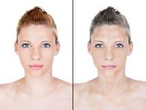 Retrato bonito do processo do envelhecimento da mulher imagem de stock royalty free