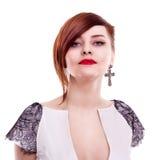 Retrato bonito à moda da mulher Fotografia de Stock