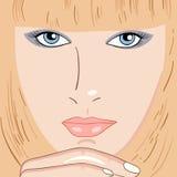 Retrato bonito novo da mulher ilustração royalty free