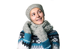 Retrato bonito novo do inverno da menina no copyspace branco do fundo Foto de Stock Royalty Free