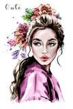 Retrato bonito tirado mão da jovem mulher Mulher da forma Menina bonito com flores ilustração royalty free