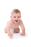 Retrato brilhante do bebé de rastejamento no tecido Fotos de Stock