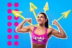 Retrato brilhante do pop art de uma mulher nova dos esportes imagens de stock royalty free