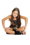 Retrato brillante de la niña vestido en pieles Foto de archivo libre de regalías