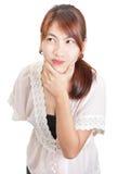 Retrato céptico da mulher fotografia de stock