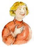 Retrato cómico companheiro do russo ilustração stock