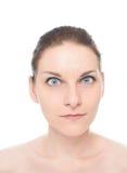 Retrato caucasiano novo da mulher isolado Imagens de Stock