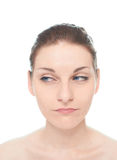 Retrato caucasiano novo da mulher isolado Fotografia de Stock