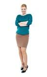 Retrato cheio do comprimento da mulher de negócios na moda Fotos de Stock