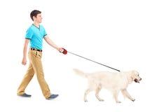 Retrato cheio do comprimento de um homem novo que anda um cão Imagem de Stock Royalty Free