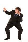 Retrato cheio do comprimento do homem de negócios novo scared foto de stock