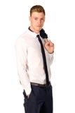 Retrato cheio do comprimento do homem de negócios novo Fotografia de Stock Royalty Free