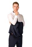 Retrato cheio do comprimento do homem de negócios novo Imagem de Stock