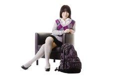 Retrato chinês da menina da escola. foto de stock