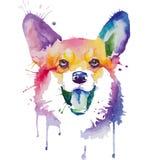 Retrato coloreado del perro en técnica del arte pop libre illustration