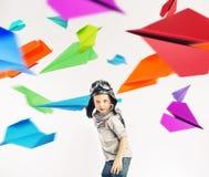 Retrato colorido de un pequeño piloto Fotografía de archivo