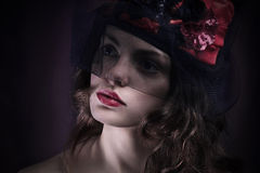 Retrato com a face surpreendida e receosa Retrato Imagem de Stock