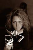 Retrato com sapatas fotografia de stock