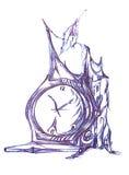 Retrato com um byclock ilustração royalty free