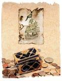 Retrato com um navio e uma caixa piratic do treausre ilustração do vetor
