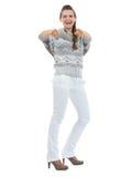 Retrato completo do comprimento da jovem mulher de sorriso que aponta in camera Imagem de Stock Royalty Free