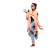 Retrato completo do comprimento da menina do modelo de forma isolado no branco Imagens de Stock Royalty Free