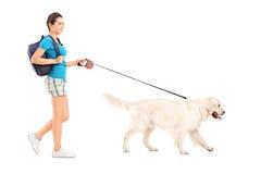 Retrato completo do comprimento de um estudante fêmea que anda seu cão Imagens de Stock Royalty Free