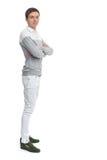 Retrato completo do comprimento de um homem novo feliz Foto de Stock Royalty Free