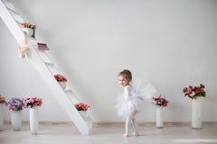Retrato completo do comprimento de uma bailarina bonita pequena fotografia de stock