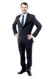 Retrato completo do comprimento do homem de negócios esperto fotos de stock royalty free