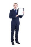 Retrato completo do comprimento do homem de negócio considerável no terno com placa Imagens de Stock Royalty Free
