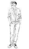 Retrato completo do comprimento do homem novo considerável Fotos de Stock Royalty Free