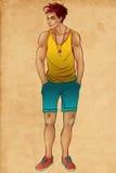 Retrato completo do comprimento do homem novo considerável feliz Foto de Stock Royalty Free