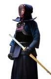 Retrato completo do comprimento do lutador do kendo Fotografia de Stock Royalty Free