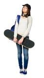 Retrato completo do jovem com skate Fotografia de Stock Royalty Free