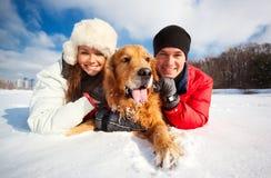 Retrato con el perro Foto de archivo