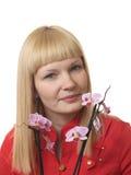 Retrato con la orquídea Imagenes de archivo