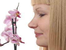 Retrato con la orquídea Imagen de archivo libre de regalías