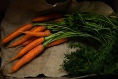 Retrato con las zanahorias imagenes de archivo