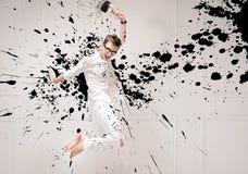 Retrato conceptual de un pintor de salto Imágenes de archivo libres de regalías