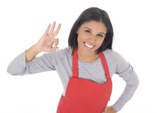 Retrato corporativo de la mujer casera hispánica atractiva joven del cocinero en la presentación roja del delantal feliz y la son imágenes de archivo libres de regalías