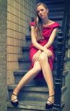 retrato Cruz-processado de um modelo de forma bonito Fotos de Stock