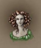 retrato Curly-dirigido da menina - cor Fotos de Stock Royalty Free