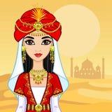 Retrato da animação da princesa árabe na roupa antiga ilustração stock