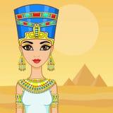 Retrato da animação da rainha egípcia Um fundo - uma paisagem o deserto, pirâmides O lugar para o texto ilustração stock