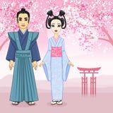 Retrato da animação da família japonesa em clotes antigos Gueixa, Maiko, samurai crescimento completo ilustração do vetor
