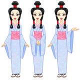 Retrato da animação a menina japonesa bonita em três poses diferentes Gueixa, maiko, princesa crescimento completo ilustração do vetor